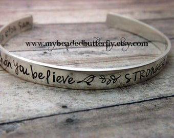 Sterling silver - hand stamped cuff bracelet-personalized -pooh quote-you are braver than you believe-winnie the pooh