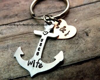 Coast guard keychain-anchor keychain-USCG-Coastie-coastie mom-coastie dad-coast guard insignia-with heart-anchor