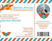 air plane ticket printable photo birthday invitation, 5x7, do it yourself