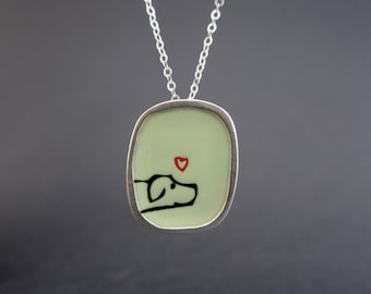 Pointer Dog  Necklace - Sterling Silver and Vitreous Enamel Dog Pendant