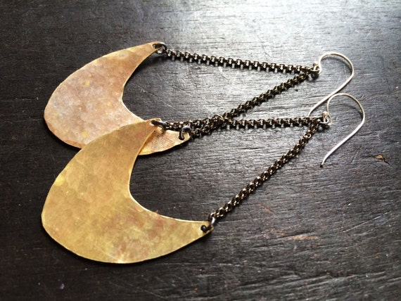 Large Pendulum Earrings - Brass