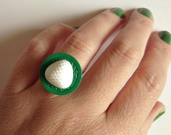 Vintage Button Ring - green + white