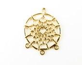 32mm Bright Gold Dream Catcher Ojibwa Chandelier Pendant Earrings - 2 pendants - 0138