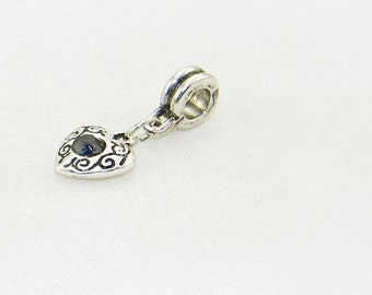 Silver heart with black rhinestone dangle charm bead for European bracelets and necklaces