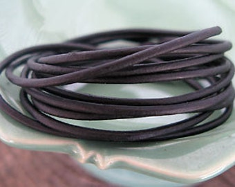 Black Round Leather Cord, 1.5mm -4 foot cutting