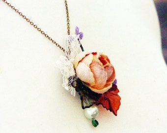 Necklace, Mixed Media, Jane Austen 'MARGARET DASHWOOD' Mori Girl, Violets, Repurposed Necklace, Velvet, Rose
