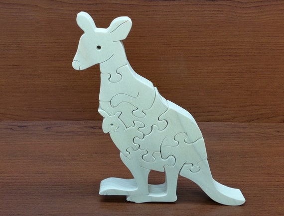 Kangaroo & Joey puzzle - Childrens Wood Puzzle Game - New Toy - Hand Made - Child Safe
