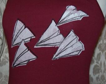 Paper aeroplane screen printed vest top