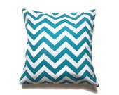 Decorative Pillow Cover Turquoise White Chevron Zigzag Toss Throw Accent Cover 16 inch
