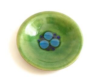 Annemarie Davidson Abstract Green Enamel Bowl