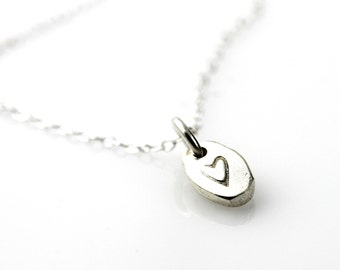 Heart stamped Pebble necklace - sterling silver