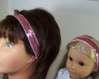 Non-slip Adjustable Headbands Matching Bling Bling Pink Sequence Girl and Doll Headband - One Size Fits All - Ready to Ship
