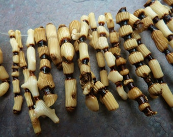Natural Bamboo Coral Beads, Branch Coral Stick Beads, Unique Coral Beads, Tan Branch Coral Beads, 18 Pieces, CB109