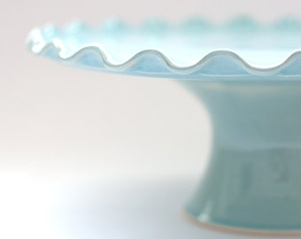 Ruffle Cake Stand - 10 inch - Aqua - READY TO SHIP
