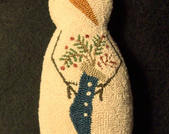 Needle Punch Primitive Snowman Doll Stocking Full Of Greenery Berries And A Candy Cane
