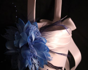 WHITE or IVORY  Satin Flower Girl Basket with Blue Flower with Feathers