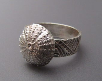 Fine Silver Sea Urchin Ring Size 8 Highly Textural Oxidized