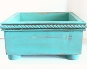 Dog Toy Box, Pet Storage Box, Kids Toy Box, Wood Bin, Wood Crate, Wedding Card Box, Aqua Blue