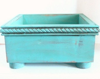 Dog Toy Box Pet Storage Container Wedding Card Holder Childs Junk Box Shabby Cottage Aqua Blue Custom