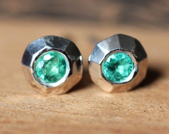 Emerald stud earrings, genuine emerald studs, May birthstone earrings, tiny stud earrings, valentine gift for her, sterling ready to ship