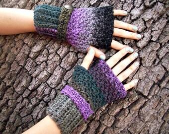 Crocheted Fingerless Gloves Mittens - Fingerless Gloves Ninja Black Grey Purple - Purple Gloves Black Gloves Grey Gloves