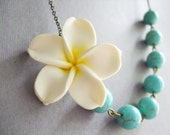 White Plumeria Flower Necklace,Floral Necklace,Turquoise Necklace,Bridesmaid Necklace,White Necklace,Wedding Jewelry Set,Bridesmaid Gift