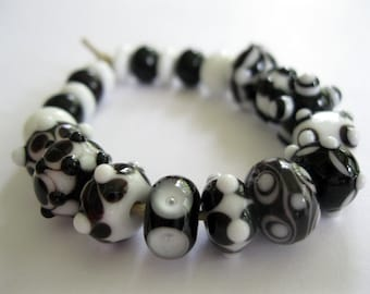 Black and White Lampwork Beads SRA