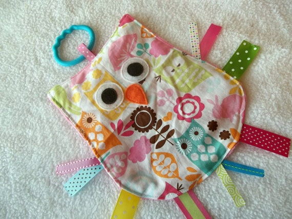 OWL CRINKLE CRACKLE Sensory Lovey Owl Toy in Forest Life
