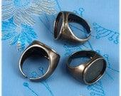 3pcs Brass base ellipse Tray Adjustable black Blank RING