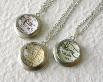 Seattle Map Locket Necklace Small - Pick Your Map Design