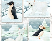 Arctic Animals Art Print Set of 4 Prints -polar bear, penguin, puffin, arctic fox, winter, north pole, cute whimsical kids nursery art
