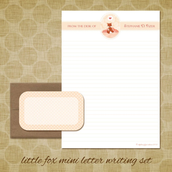 Personalized Stationery - Little Fox Mini Letter Writing Set - Cute Kids Stationery Set gift animal love heart valentine fox says