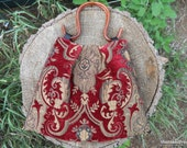 Women's small pleated wine and gold Carpetbag purse