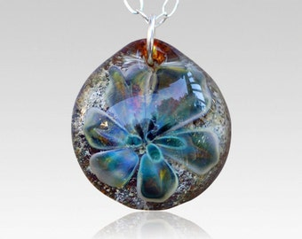 Memorial Ash Cremation Pendant Glass Flower Water Lily Necklace Borosilicate Boro Lampwork, Hand Blown Glass Jewelry - Earth Lily