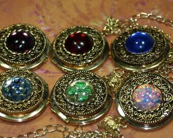 Limited Vintage Gold Locket Necklace Choice Fire Opal Large OOAK Wedding Keepsake