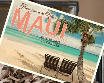 Vintage Postcard Save the Date (Maui) - Design Fee