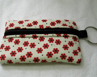 Red Floral Coin Purse - Cream Change Purse - Coin Purse on Key Chain - Floral Earbud Case - Small Padded Zip Pouch