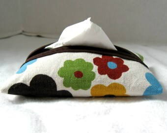 Floral Pocket Tissue Holder Bold Brown Purse Tissue Case