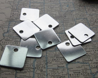 10 TUMBLED Aluminum 1 Inch Squares - 18 Gauge