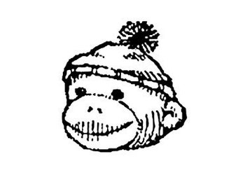 SUPER CLEARANCE Cute Sock Monkey Head Rubber Stamp Large LEFT