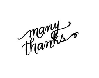 Many Thanks Calligraphy Rubber Stamp