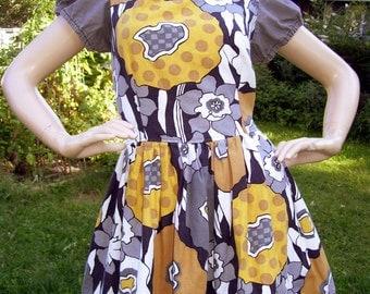 Mod Mini Dress Babydoll October Fest Abstract Mid Century Gray Yellow Cotton Adult 8 10 12 Dress