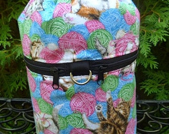 Cat knitting project bag, drawstring bag, knitting in public bag, small project bag, kittens and yarn, Kipster
