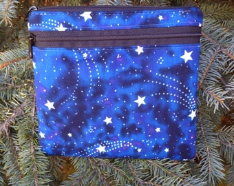 Stars iPhone purse with shoulder strap option, clutch, wristlet, hipster bag, glow in the dark stars, waist pack, The Squirrel