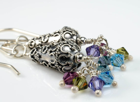 Orchid Earrings Ornate Thai Silver Beads with Swarovski Crystal Cluster in Blue, Purple, Green and Plum