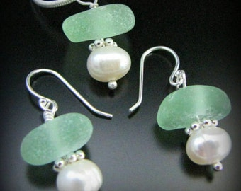 Sea Glass Jewelry, Genuine Beach Combed Seafoam Green & Pearl - Sea Glass Necklace and Earrings Gift Set, Jewellery