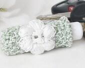 Sage Green Lip Balm Keychain, Cottage Chic Lipstick Case, White Crochet Puff Flower Embellishment