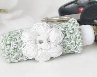 Sage Green Lip Balm Keychain, Cottage Chic Lipstick Case, White Crochet Puff Flower Embellishment