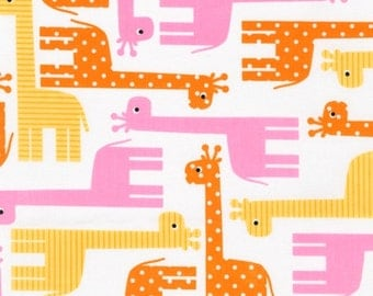 Ann Kelle, Urban Zoologie, Giraffes Spring Fabric - REMNANT Size 30 Inches by 44 Inches
