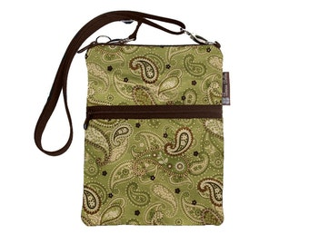 Kindle 4 Case / Kindle Fire Cover / Kindle Touch Bag / Nook Bag / Padded eReader Case / TRAVEL BAG  fits WITH Cover - Green Paisley Fabri